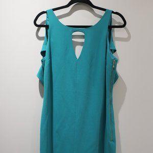 RACHEL ROY/ turquoise ruffle dress with open back